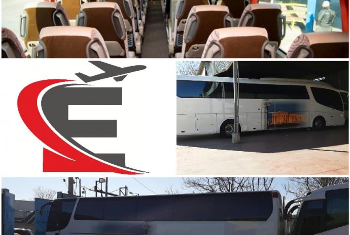 κολάζ φωτογραφιών λεωφορείων